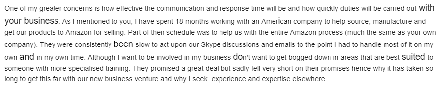 excerpt from clients email 2